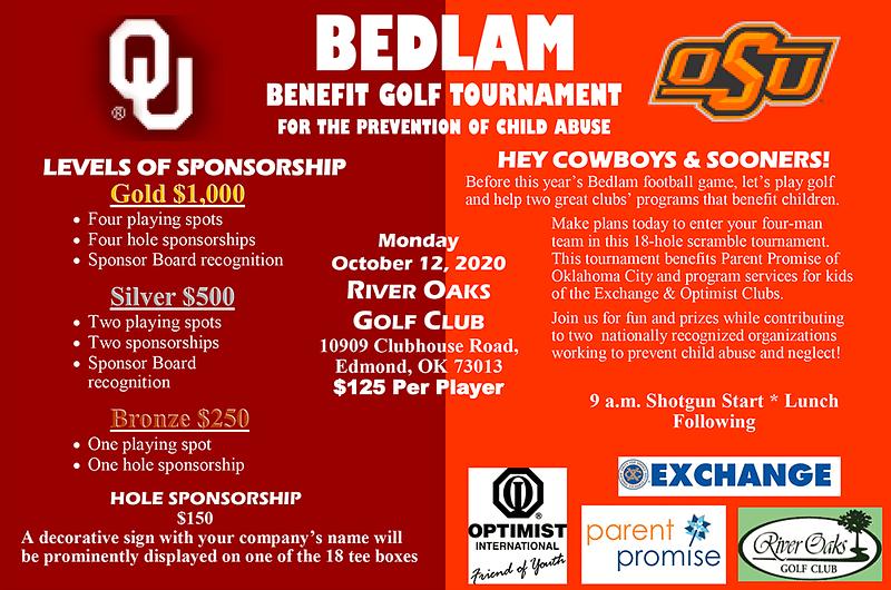 Bedlam Golf Tournament Flyer 2020